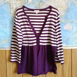 Christopher & Banks Purple White Striped Cardigan